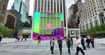 Apple's iconic cube on New York's Fifth Avenue is back—and in color