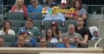 Fan At Phillies-Mets Battles Bug Behind Home Plate