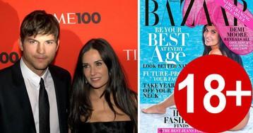 Деми Мур в 56 лет снялась для Harper's Bazaar в одной шляпе