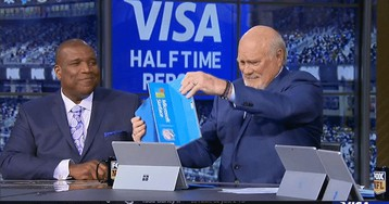 Terry Bradshaw Spills Coffee During Halftime Highlights, Makes A Big Ol' Mess