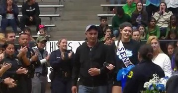 VIDEO: Dallas Police Officers Attend Senior Night to Support Fallen Officer's Daughter