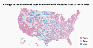 US bank branches have declined rapidly in recent years