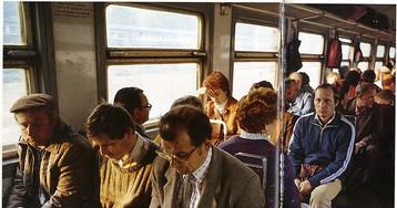 Пассажиры электропоезда, 1987 год, Москва