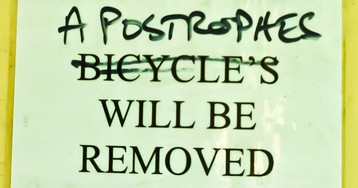"""UK Apostrophe Protection Society surrender's, saying """"ignorance and lazines's have won"""""""