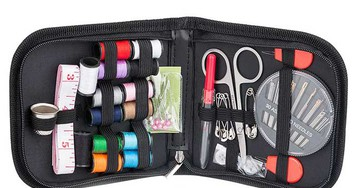 An inexpensive home sewing kit for repairing clothes
