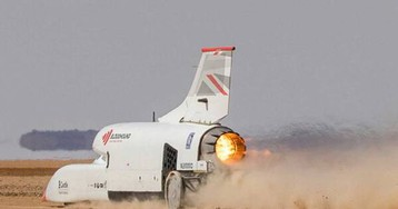 Bloodhound LSR jet car reaches 628 mph