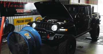 Listen to the Hellcat in a Hennessey Maximus Jeep Gladiator racing on a dyno