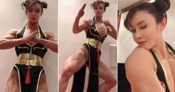 Bodybuilder Does A Mean Chun-Li Cosplay