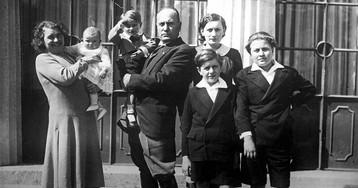Бенито Муссолини с семьёй, 1930 год.