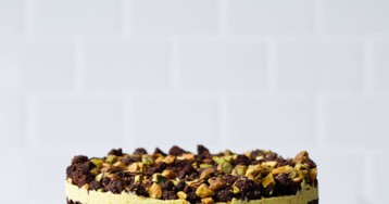 Chocolate & Pistachio Naked Layer Cake