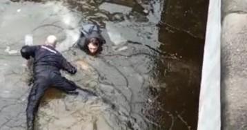 Полицейский прыгнул в ледяную воду, чтобы спасти молодого парня в Питере