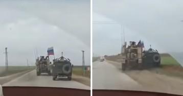 Опубликовано видео, как американцы не поделили с русскими дорогу в Сирии