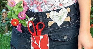 Для дачи своими руками: фартук из джинсов и коврик из гальки