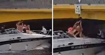 В Петербурге модель, катаясь на катере, протаранила головой мост