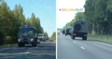 На трассах засняли десятки машин Росгвардии, едущих к границе Белоруссии