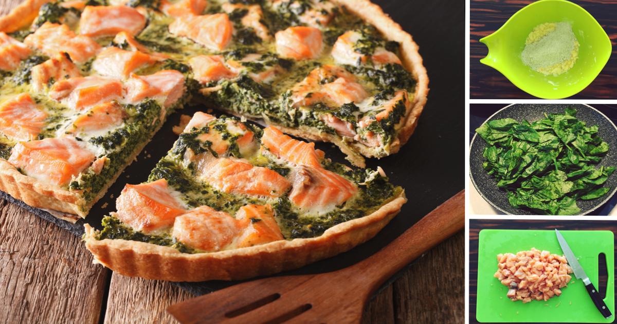 Фото Пирог с лососем, шпинатом и сыром: пошаговый фото-рецепт