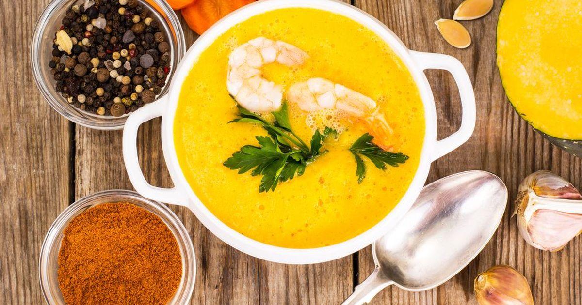 Фото Сырный суп с креветками