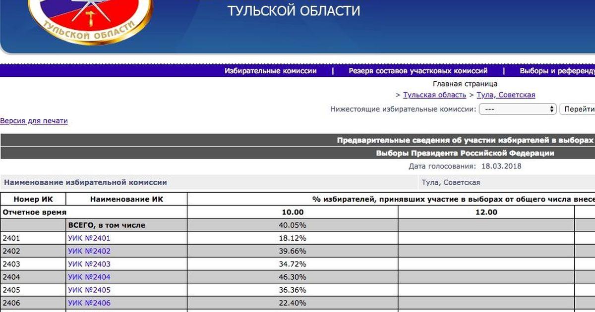 Фото Сайт Тульского избиркома сообщил о 40% явке на мартовских выборах президента
