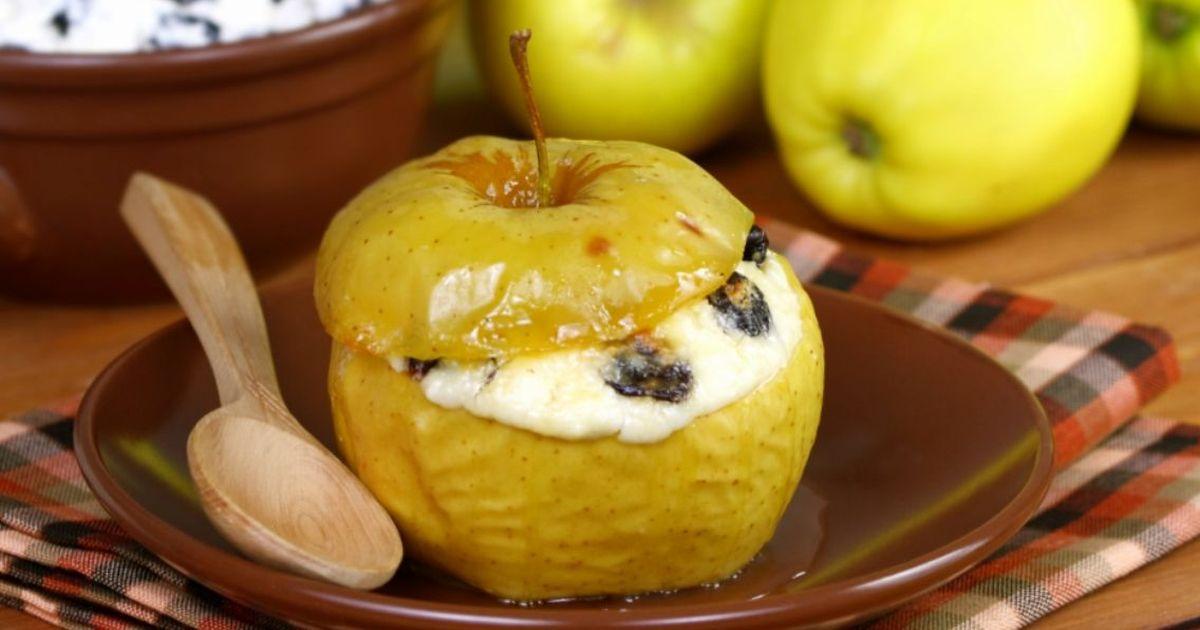 Фото Вкуснейшие яблоки, запеченные с творогом