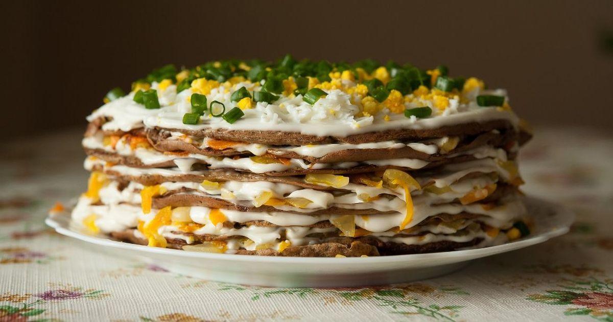 Фото Праздничный печеночный торт