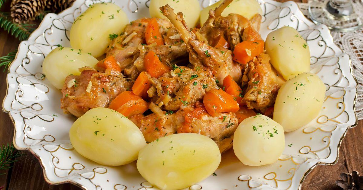 Фото Кролик, тушеный с овощами