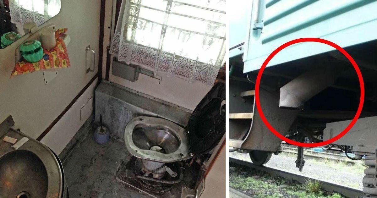 Фото Что произойдет, если на ходу бросить лом в туалет поезда? (ВИДЕО)