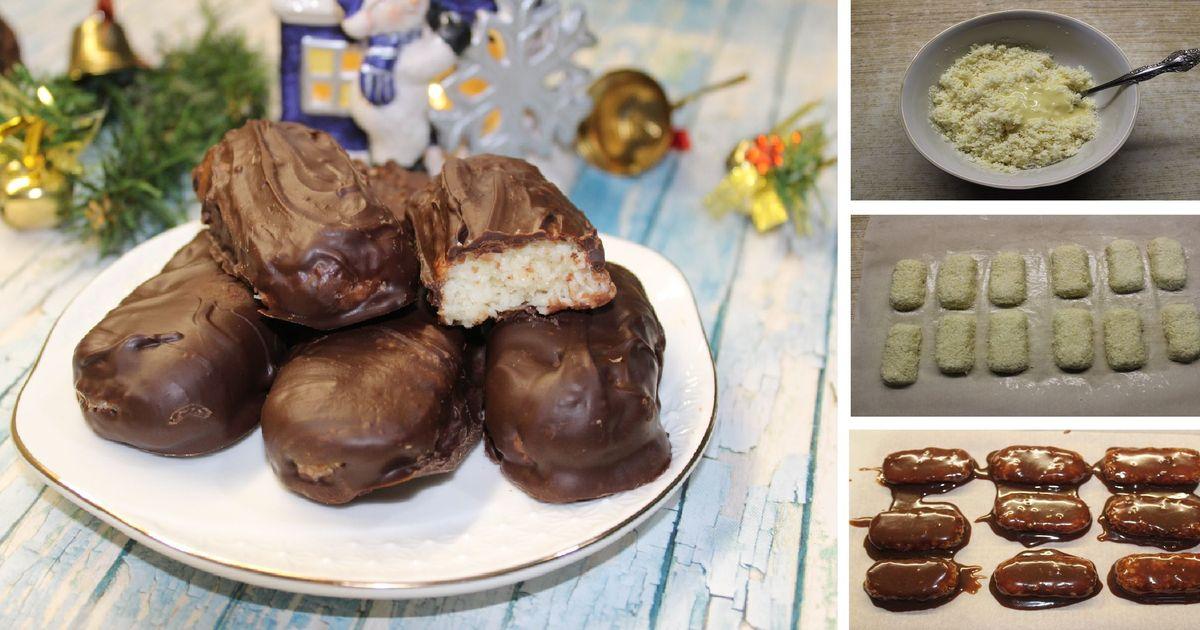 """Фото Кокосовые батончики """"Баунти"""" в горьком шоколаде: пошаговый фото рецепт"""