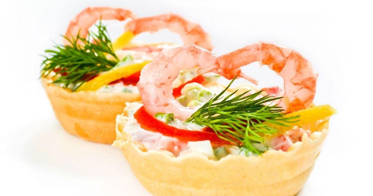Фото Закусочные тарталетки с креветками