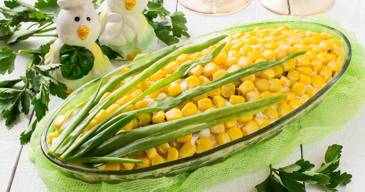 """Фото Салат """"Кукуруза"""" с крабовым мясом"""