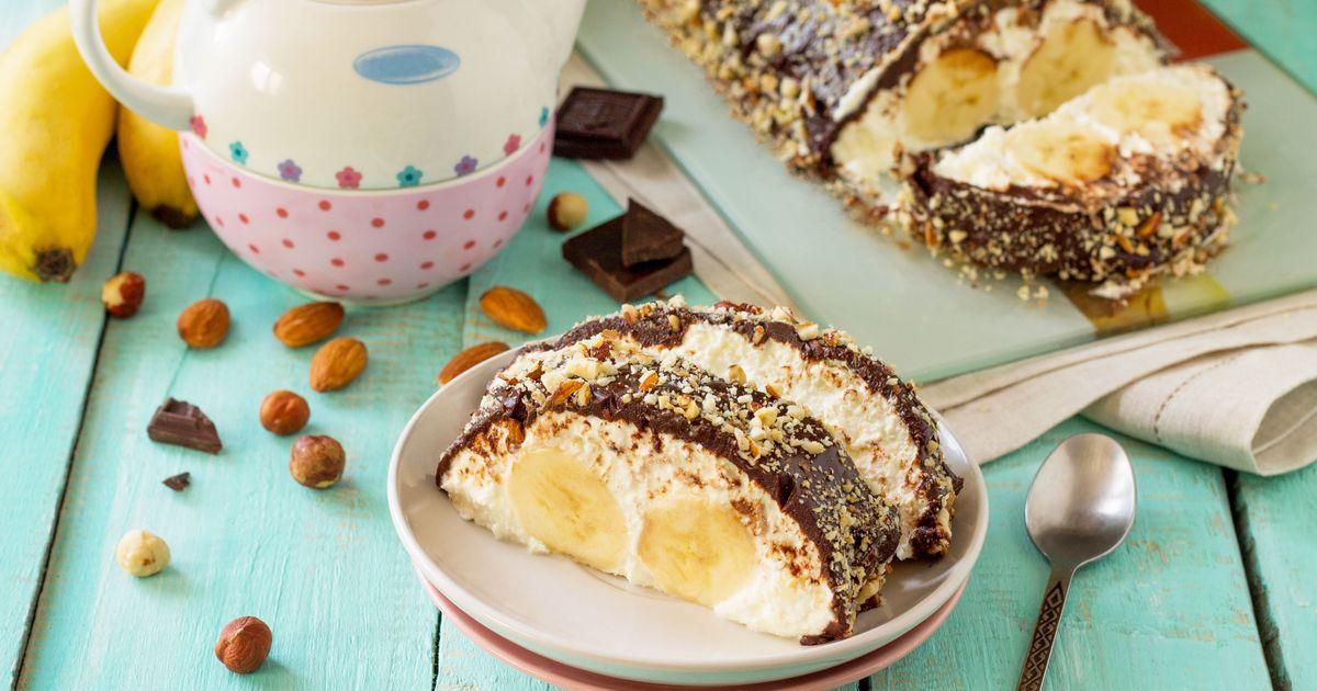 Фото Творожно-шоколадный десерт с бананом