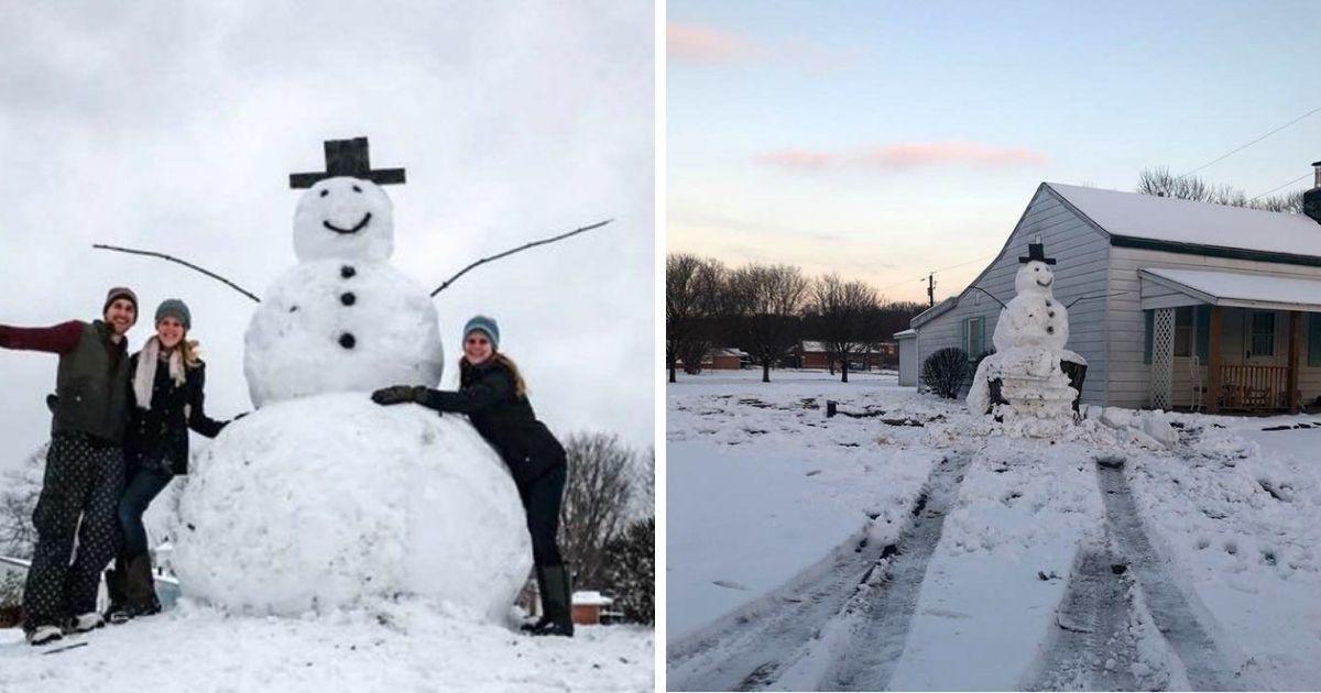 Фото Мгновенная карма: незадачливых вандалов погубил снеговик