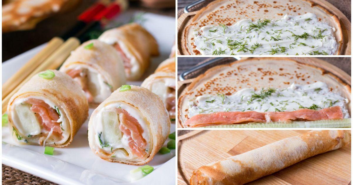 Фото Блинные роллы с красной рыбой, огурцом и сливочным сыром: пошаговые фото