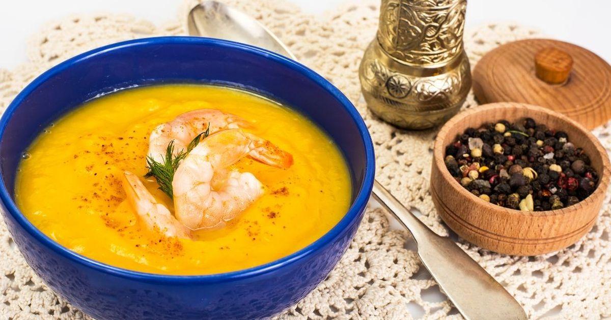 Фото Суп из тыквы с креветками