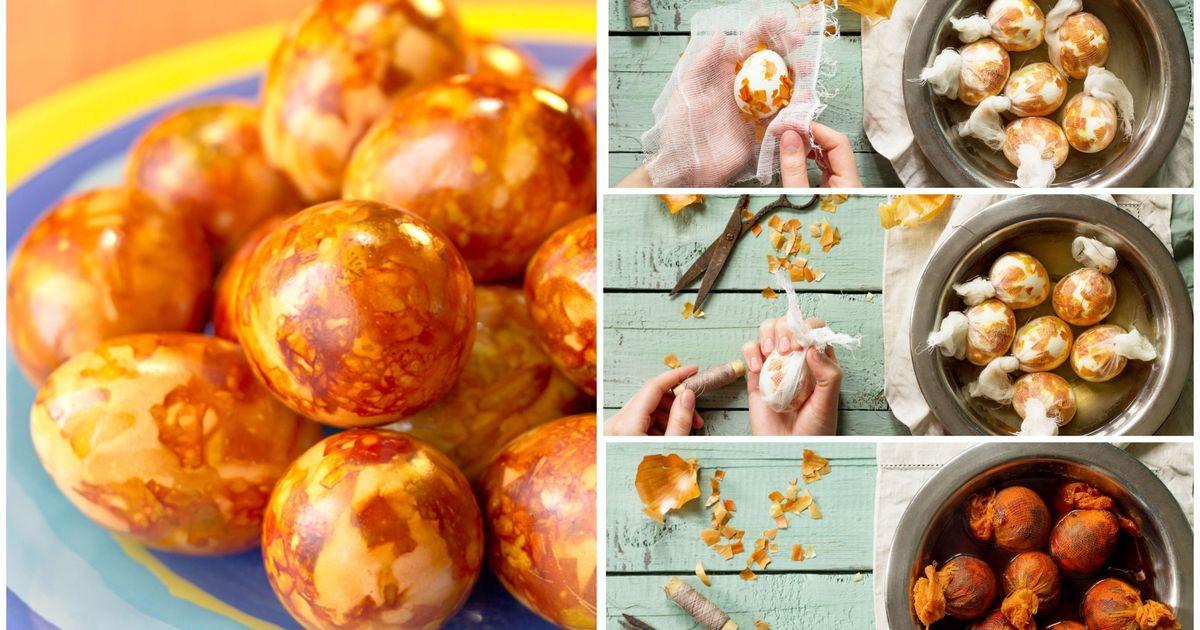 Фото Мраморные яйца в луковой шелухе: пошаговые фото
