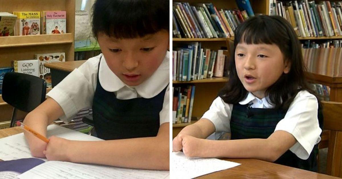 Фото Третьеклассница без ладоней выиграла конкурс на лучший почерк