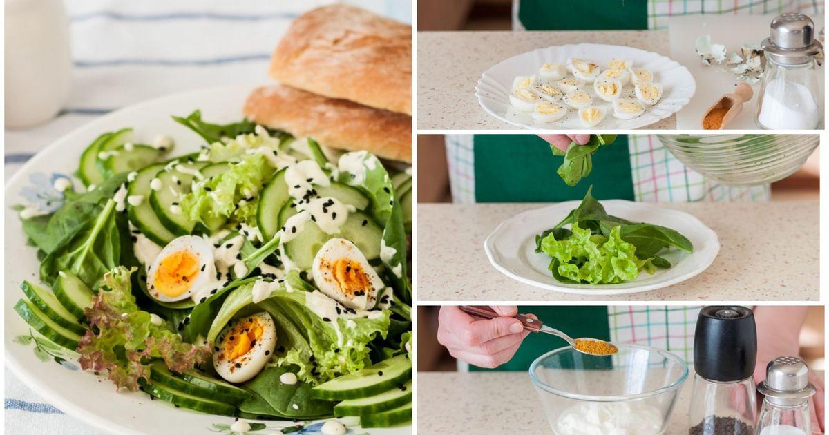 Фото Салат с перепелиными яйцами и пикантной заправкой: пошаговый фото рецепт