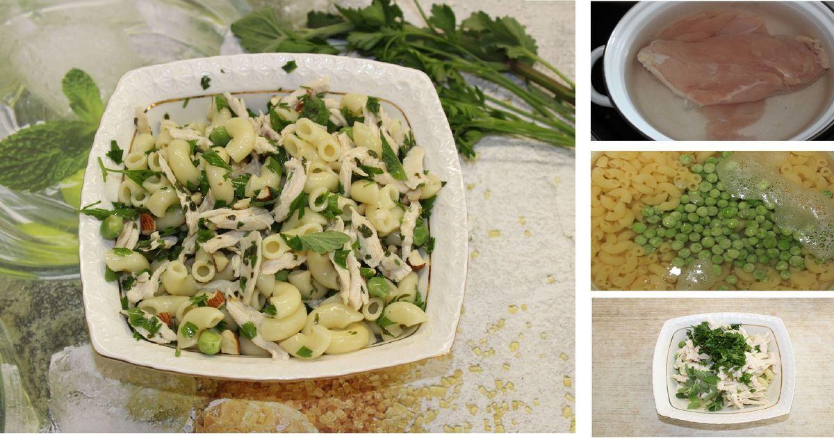 Фото Диетический салат с пастой, горошком и лимоном