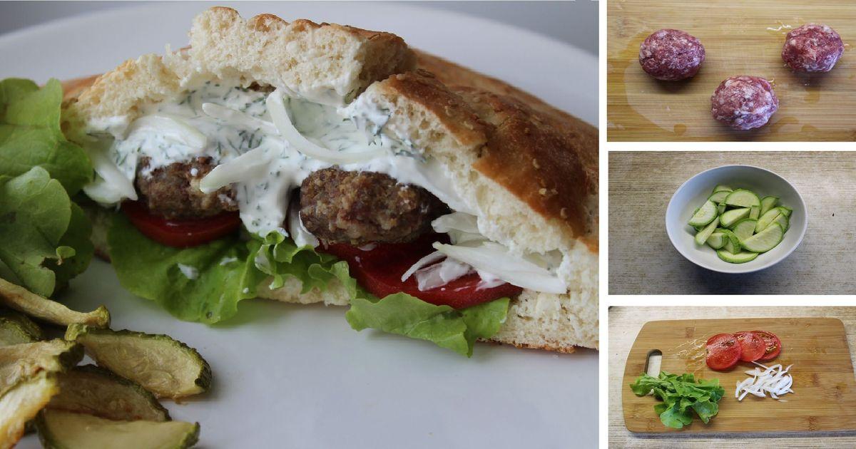 Фото Греческий бутерброд с фрикадельками, овощами и тзадзики: пошаговый фото рецепт