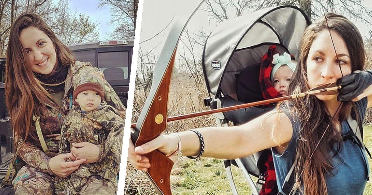 Фото Добытчик и мать: американка ходит на охоту с младенцем за спиной