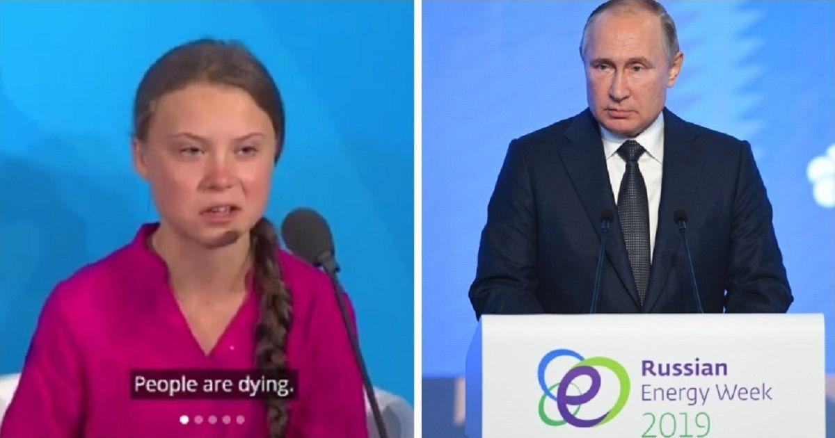 """Фото """"Добрая девочка"""". Путин раскритиковал выступление Греты Тунберг в ООН"""