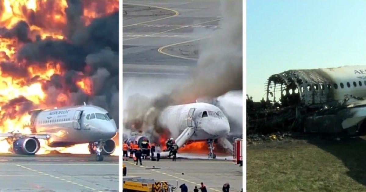 """Фото СК выложил видео с пожаром """"Суперджета"""" в Шереметьево и назвал виновника"""