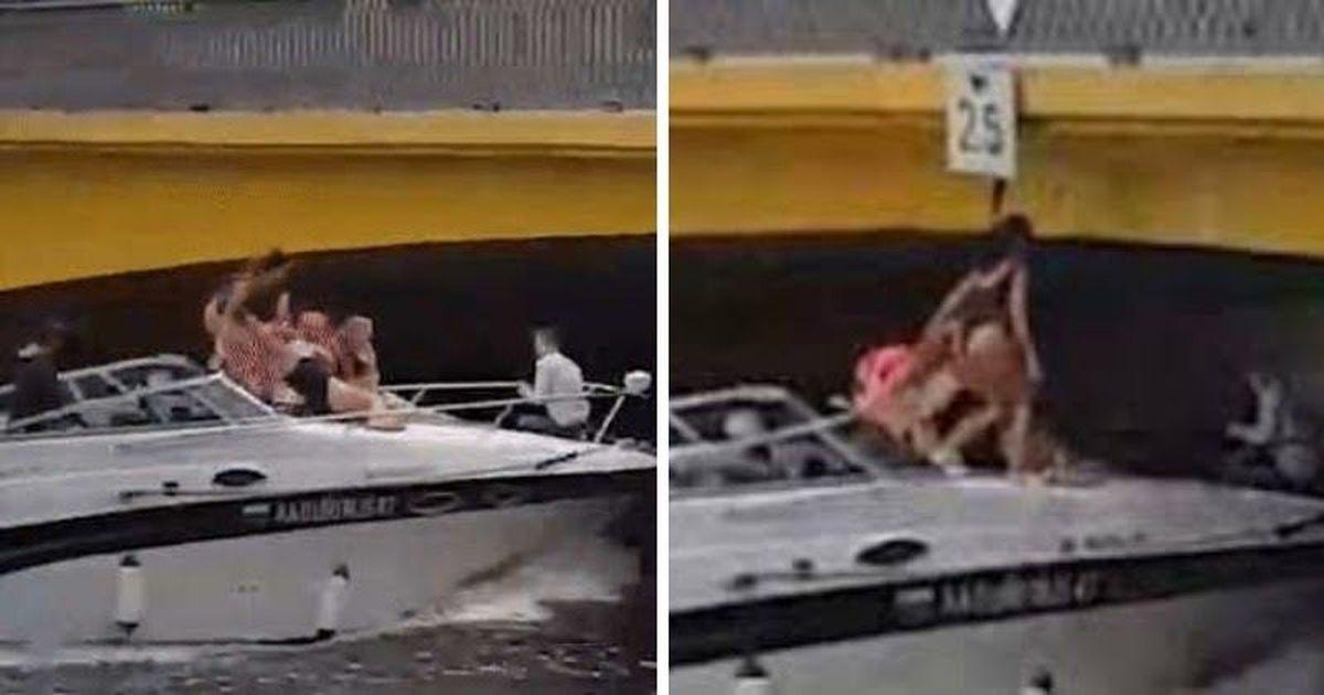 Фото В Петербурге модель, катаясь на катере, протаранила головой мост