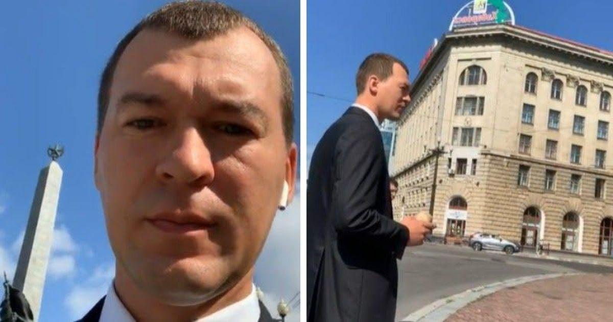 """Фото """"Не уйду"""". Дегтярев велел хабаровчанам """"не провоцировать полицейских"""""""