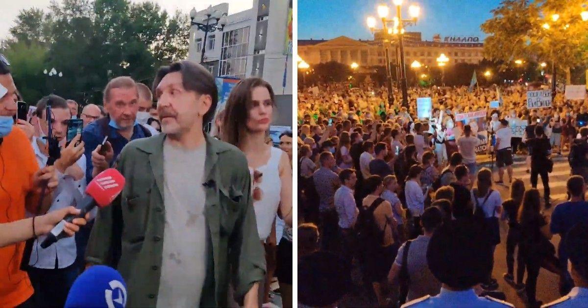 """Фото """"Здесь кричат """"Путина в отставку!"""""""" Шнуров вышел на акцию в Хабаровске"""