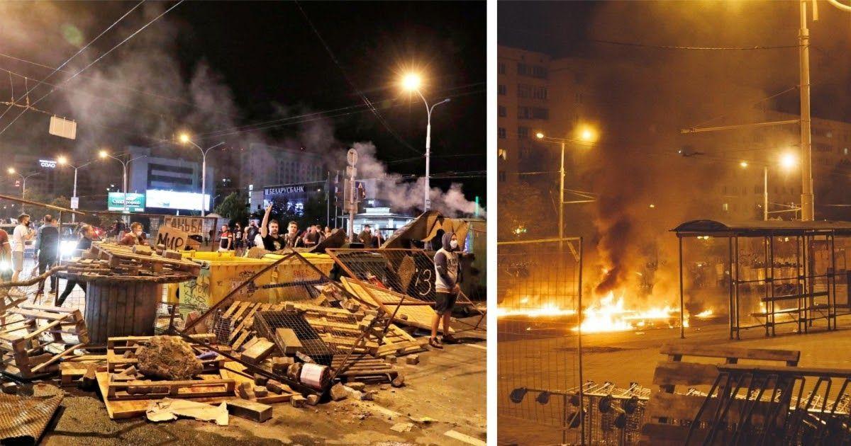 Фото Огонь и баррикады: вторая ночь протестов в Минске