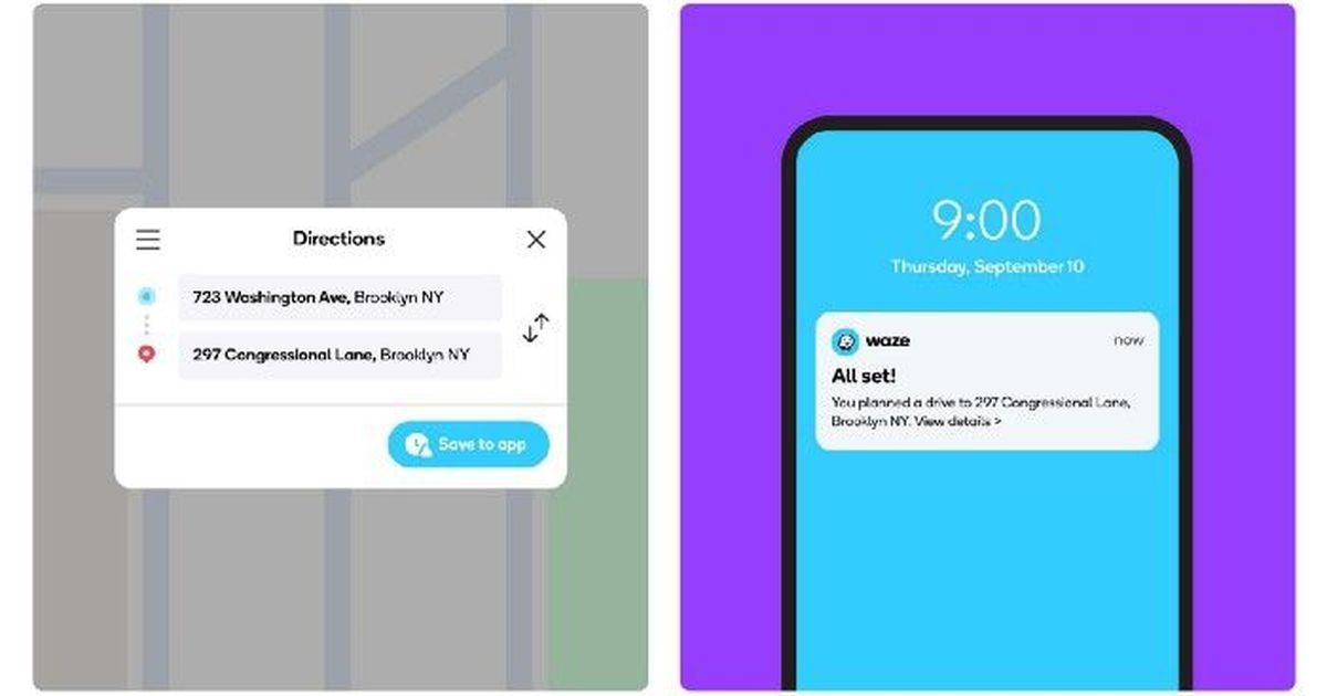Фото Waze теперь позволяет отправлять маршруты с PC на смартфон