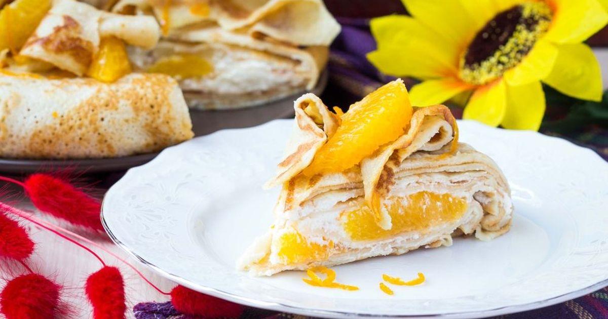 Фото Блинный торт с апельсинами и сливочным кремом