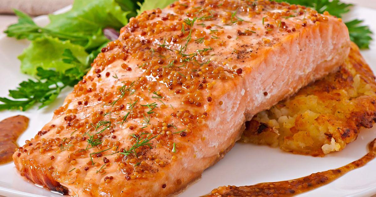 Фото Запеченный лосось с медом и горчицей