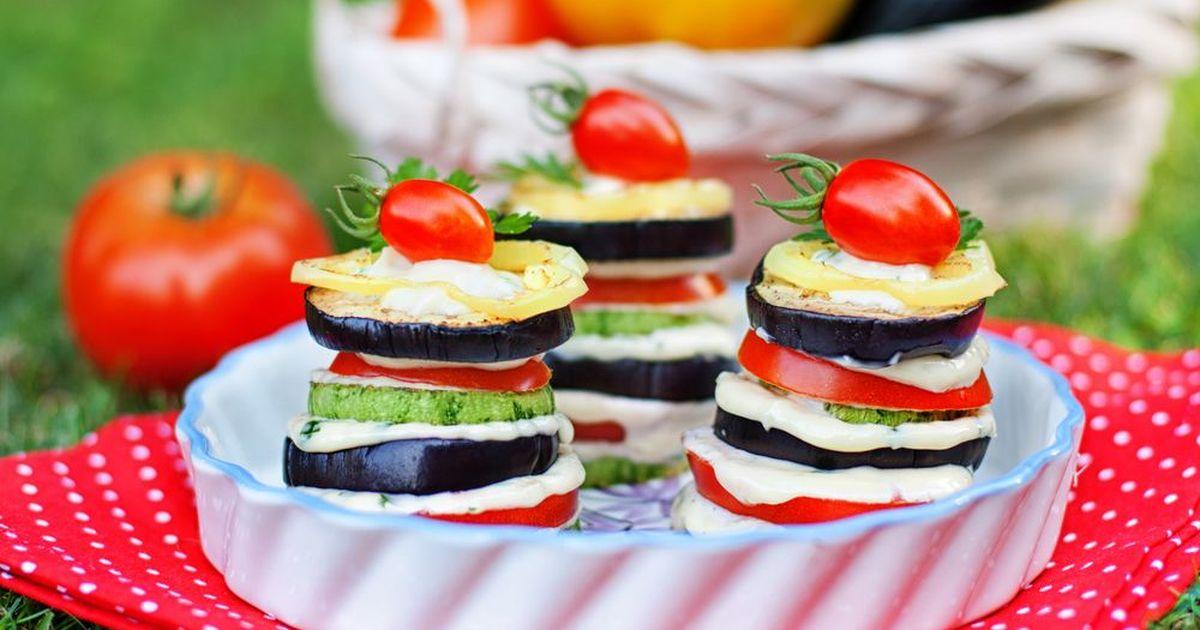 Фото Башенки из запеченных овощей