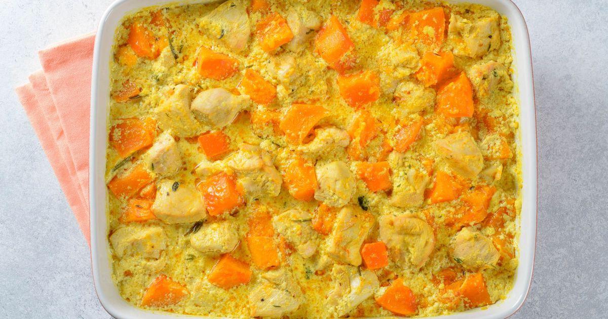 Фото Курица с тыквой в сливочном соусе